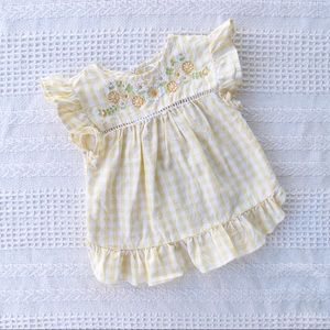BABY M&CO yellow gingham top floral embroidery
